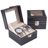 豪華玻璃翻蓋高檔皮革2位手錶盒手錶箱收藏收納盒子【新店開業,限時85折】