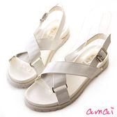 amai皮革交叉金屬釦環厚底涼鞋 白