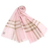 BURBERRY 輕質格紋羊毛真絲披肩圍巾(雪花粉)089543-3