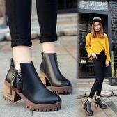 英倫短靴女單靴側拉鍊高跟馬丁靴女粗跟女靴學生靴子 育心小賣館