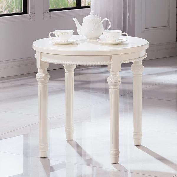 【森可家居】歐風白色圓茶几 9HY247-03 法式古典鄉村風 休閒咖啡接待桌