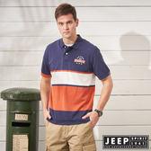 【JEEP】經典美式風格短袖POLO衫-藍