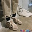 雪地靴 2021秋冬新款女士平底溢毛休閒雪地靴女時尚迷你搭扣加絨加厚棉鞋寶貝計畫 上新