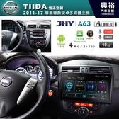 【JHY】2011~2017年NISSAN  TIIDA 恆溫空調專用10吋螢幕A63系列安卓主機*雙聲控+藍芽+導航+安卓