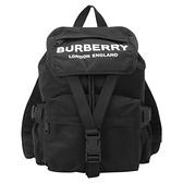 【南紡購物中心】BURBERRY 徽標印花LOGO素面尼龍後背包(黑)
