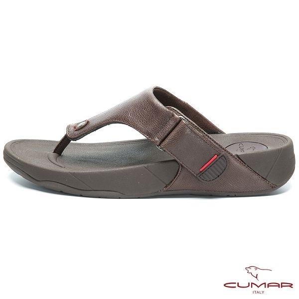 CUMAR 舒適樂活 多密度大底舒適夾腳鞋-咖啡色