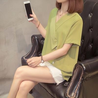 短袖襯衫XL-4XL夏季款雪紡襯衣大碼女裝微胖MM設計感簡約歐貨洋氣短袖襯衫上衣F2060快時尚