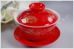 10頭紅金絲牡丹陶瓷茶具