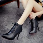2020春季新款加絨短靴歐美繫帶女式細跟高跟鞋子女士尖頭馬丁靴 藍嵐