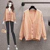 VK精品服飾 韓國風休閒寬鬆針織開釦衫外套單品長袖上衣