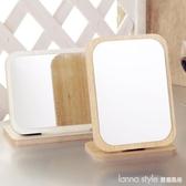 高清化妝鏡 台式桌面梳妝鏡便攜時尚隨身簡約單面大號美容鏡子  LannaS