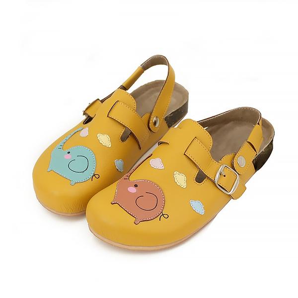 【Jingle】彩虹大象前包後空軟木休閒鞋(芥末黃大人款)