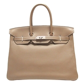HERMES 愛馬仕 18 Etoupe 大象灰柏金包 Birkin 35 □J刻銀釦 Swift 【BRAND OFF】