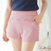 褲子 蕾絲水鑽波浪邊短褲-粉紅色-Ruby s露比午茶