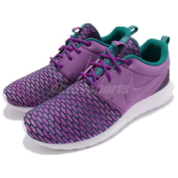 【四折特賣】Nike 休閒鞋 Rosherun NM Flyknit PRM 紫 白 編織鞋面 男鞋【PUMP306】 746825-500