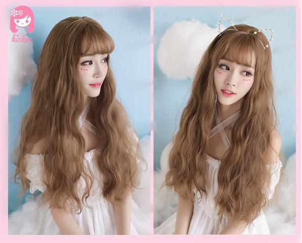 *╮Kinkee假髮╭*夢幻小公主! 大頭皮 空氣瀏海 修飾 玉米燙 三管電棒 長捲髮  假髮【C8174】