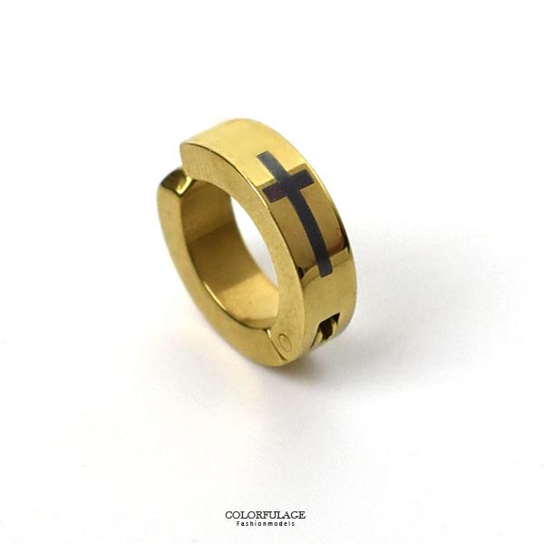 夾式耳環 黑十字架金色鋼耳夾NDF11