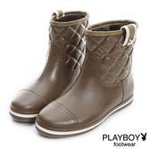 PLAYBOY 優雅雨季~菱格壓紋短筒雨靴-棕