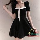 短袖洋裝 黑色氣質短袖短裙新款夏季法式復古顯瘦性感露背連衣裙遮肚子潮女 限時折扣