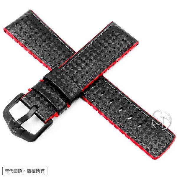 【300米防水 海奕施 HIRSCH】複合式橡膠錶帶 Ayrton L 0912092050 碳纖維壓紋 紅色 附工具 潛水錶替用帶