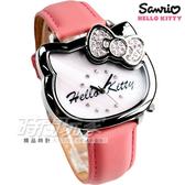 HELLO KITTY 俏皮經典造型腕錶 真皮錶帶 粉橘 女錶 LK681LWPP