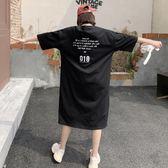 海外直發不退換韓版短袖洋裝2051#2019夏裝新款女t恤長款過膝寬松字母印花休閑大碼連衣裙ins(NC415)