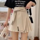 春夏2020新款韓版百搭洋氣西服款網紅壓褶短裙女高腰A字半身裙潮