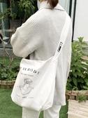 簡約新款插畫風帆布包印花日系抽象單肩包斜跨大包女包手提購物袋
