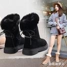 可愛雪地靴女2019新款冬季加厚加絨保暖短筒后系帶網紅毛毛棉鞋冬 PA12579『棉花糖伊人』