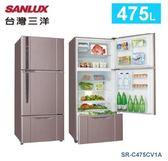 【佳麗寶】-留言加碼折扣《台灣三洋 / SANLUX 》三門直流變頻冰箱-475L【SR-C475CV1A】