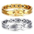 《 QBOX 》FASHION 飾品【BRM122】精緻個性手錶帶設計鑲黑石鈦鋼手鍊/手環(二色)