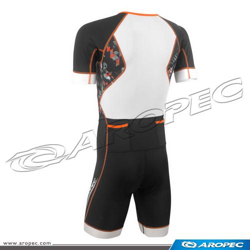 男款Tri-Slick   短袖短褲 連身三鐵競速衣 (前開式)      SS-3TS-315P-M-Geom     【AROPEC】