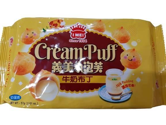 【義美】小泡芙牛奶布丁口味57g,12包/箱,奶蛋素,平均單價30元