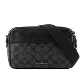 【COACH】PVC+皮革寬背帶相機包(黑色) F50715 QBAF4