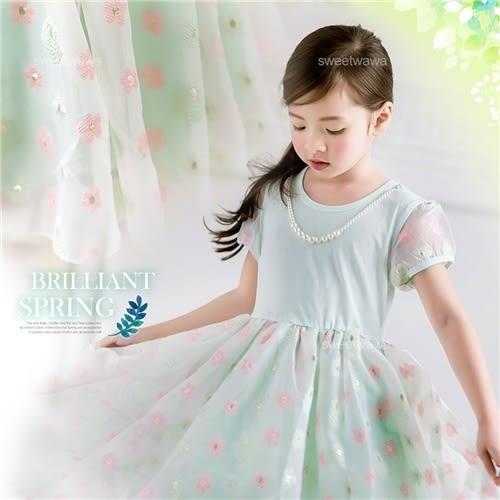 金采花漾珍珠項鍊袖雪紡洋裝禮服(有內裡)(250040)★水娃娃時尚童裝★