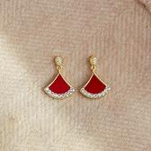 適合過年的紅色吊墜小扇形耳環2021年新款潮高級感網紅耳釘女耳飾 伊蘿