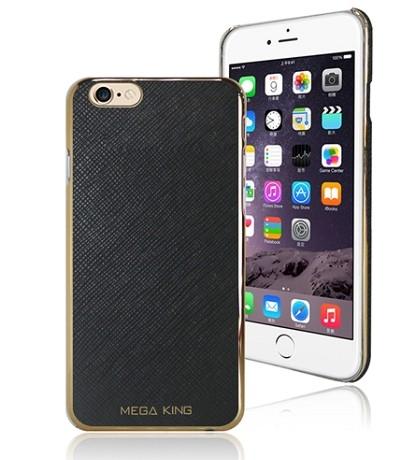 保護套殼iPhone6s MEGA KING 皮革鍍邊保護殼-真皮保護殼-保護殼 -經典黑色