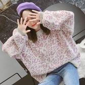 ZUCAS~(T-8445) 寬鬆感豹紋印花澎袖毛衣