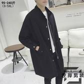 風衣外套男士中長版秋季韓版大衣寬鬆大碼學生工裝外套【左岸男裝】