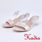 kadia.性感水鑽簍空玻璃透明感拖鞋(9107-21粉色)
