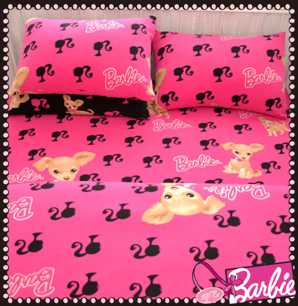 【Barbie】酷迪吉娃娃-雪芙絨雙人床包被套四件組《Cutie Chihuahua《甜心粉》》