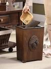 榮耀 垃圾桶家用客廳創意美式木質大號帶蓋...