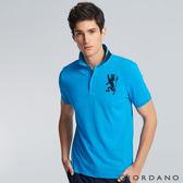 【GIORDANO】男裝勝利獅王3D刺繡彈力萊卡POLO衫(37 雪花中翡翠藍)