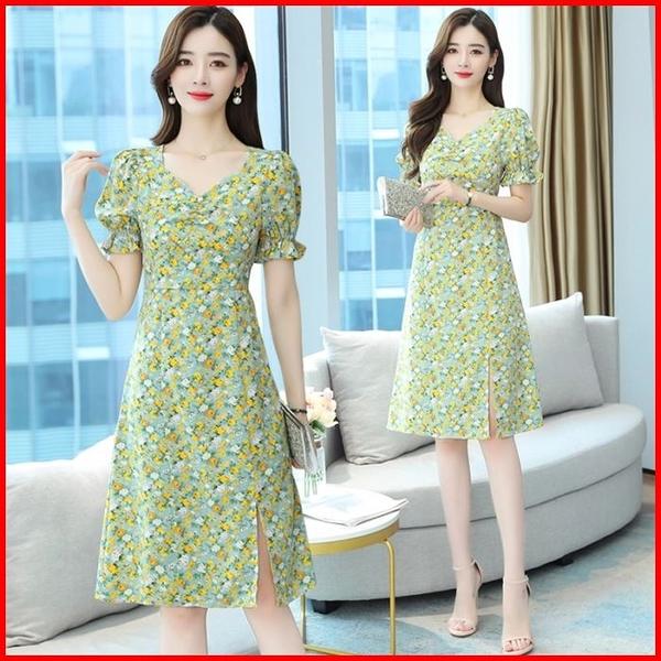 韓國風短袖洋裝  小雛菊碎花連身裙高腰泡泡袖雪紡連衣裙  依多多