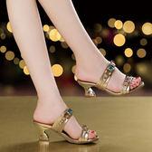 中跟涼鞋 女水鑽顯瘦涼拖鞋【多多鞋包店】z2320