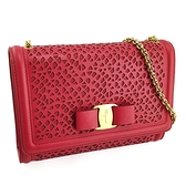 【奢華時尚】Ferragamo 紅色雕花牛皮金色蝴蝶結金鍊斜背信封包(九五成新)#25169