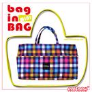 隨身系列 藍色格子紋  輕便小物 ~ 袋中袋 / 包中包 AMINAH~【am-0136】