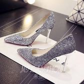 水晶百搭女鞋2018新款伴娘婚紗鞋細跟高跟鞋女尖頭亮片銀色女單鞋