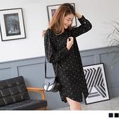 《EA1646》排釦長版點點襯衫/罩衫/洋裝--適 XL~6L OrangeBear