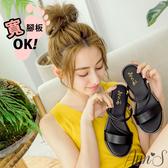 Ann'S舒適寬版小水鑽2way平底涼鞋-黑